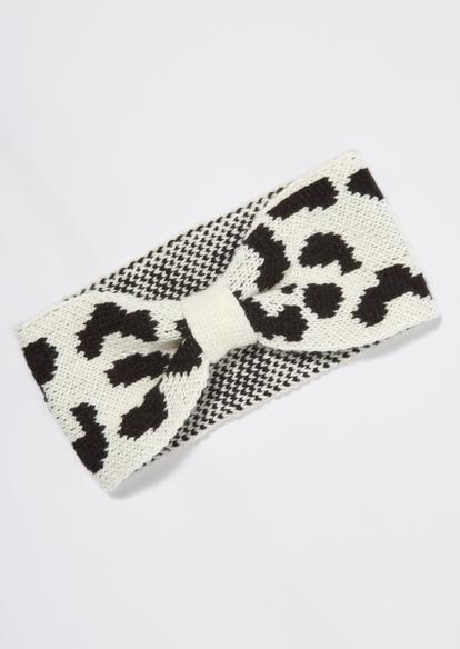 cow print knit bow headband - Main Image