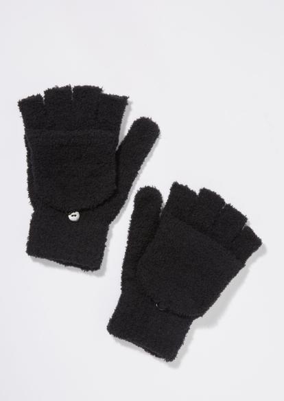 black sherpa flip top gloves - Main Image