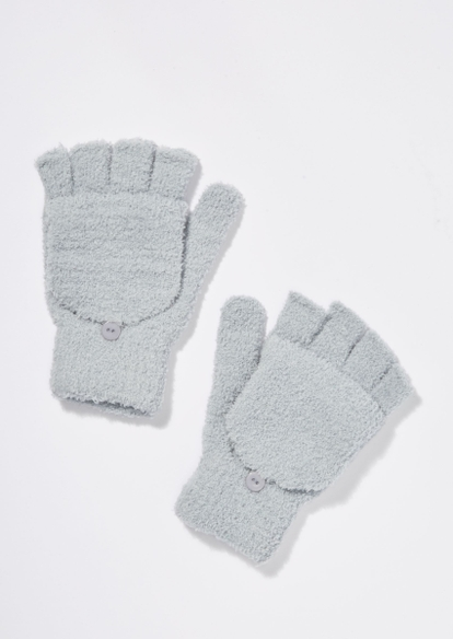 gray sherpa flip top gloves - Main Image