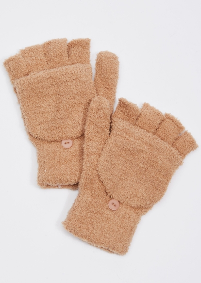 taupe sherpa flip top gloves - Main Image
