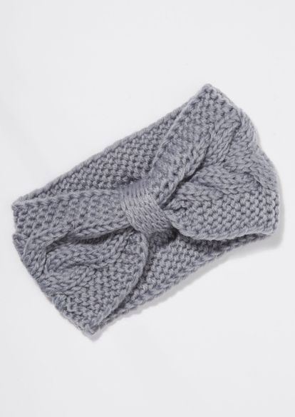 gray cable knit bow headband - Main Image
