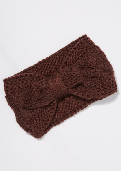 brown cable knit bow headband - Main Image