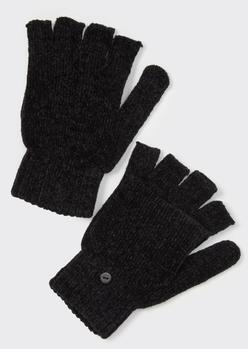 black chenille flip-top fingerless gloves - Main Image