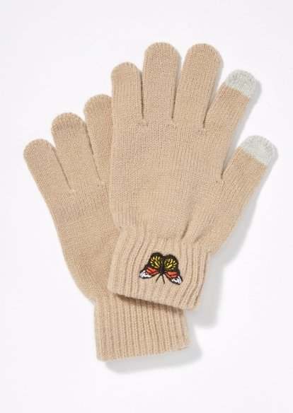 taupe butterfly tech finger gloves - Main Image
