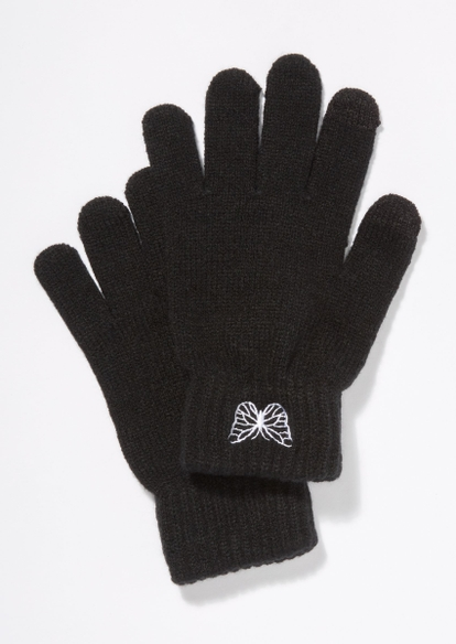 black butterfly embroidered gloves - Main Image