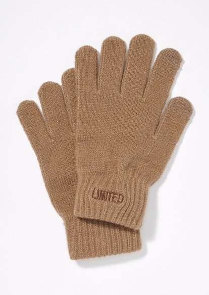 brown limited edition tech finger gloves - Main Image