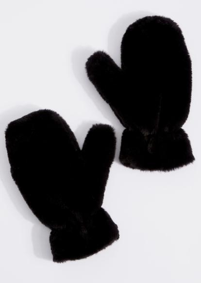 black faux fur mittens - Main Image