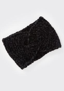 black chenille twist headwrap - Main Image
