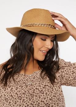 gold chain straw hat - Main Image