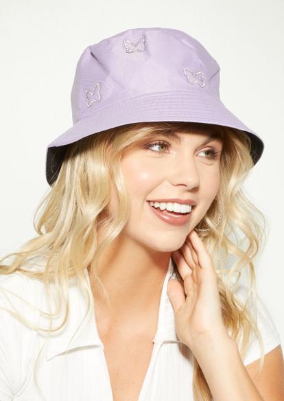 lavender rhinestone butterfly bucket hat - Main Image