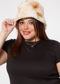 brown tie dye fuzzy faux fur bucket hat - Main Image