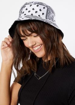 white bandana print bucket hat - Main Image