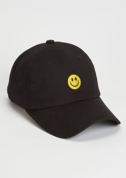 black smiley embroidered dad hat - Main Image