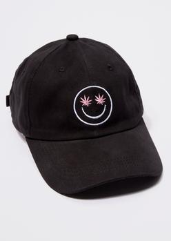 black weed leaf smiley face embroidered dad hat - Main Image