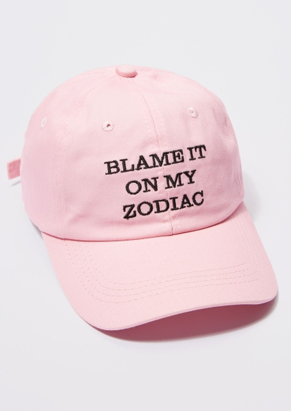 pink blame my zodiac embroidered dad hat - Main Image