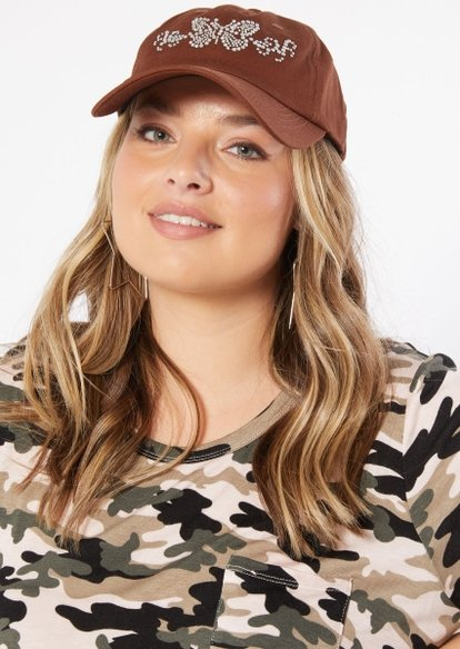 brown rhinestone butterfly dad hat - Main Image