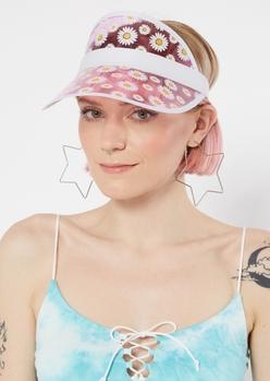 pink daisy print visor - Main Image