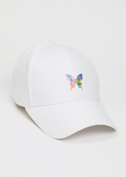 white butterfly embroidered dad hat - Main Image