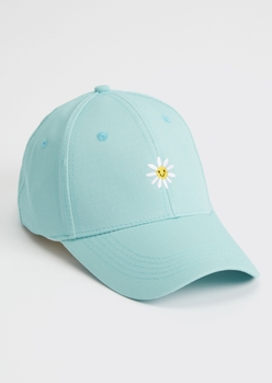 blue daisy smiley embroidered dad hat - Main Image