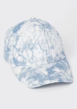 blue tie dye anti social dad hat - Main Image