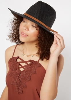 black wide brim straw hat - Main Image