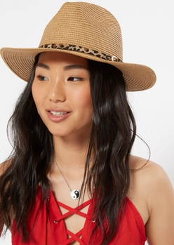 leopard print band straw hat - Main Image