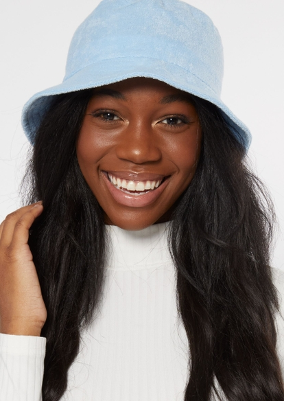 light blue terry knit bucket hat - Main Image