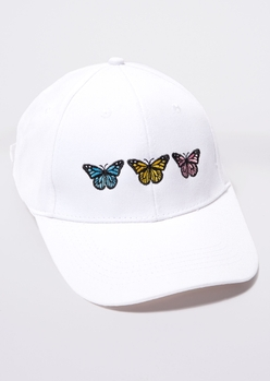 white pastel butterfly embroidered dad hat - Main Image