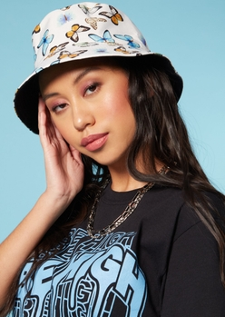 white butterfly print bucket hat - Main Image