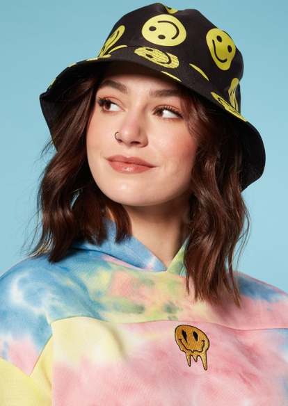 smiley face print bucket hat - Main Image