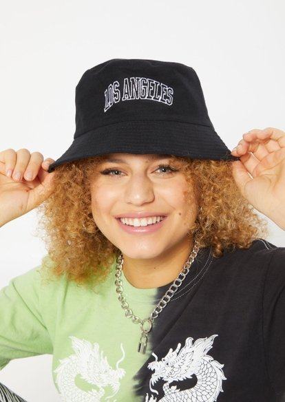 black los angeles embroidered bucket hat - Main Image