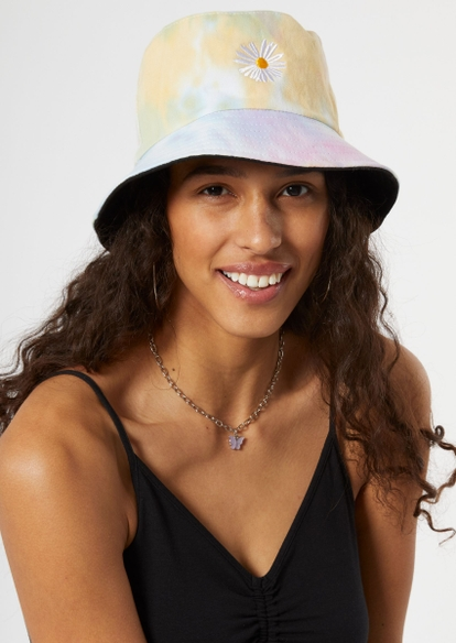 tie dye embroidered daisy bucket hat - Main Image