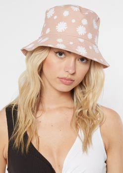 light pink daisy print bucket hat - Main Image