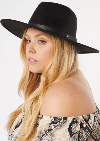 black studded felt hat - Main Image