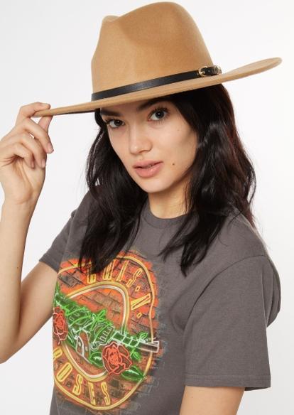 tan buckled felt hat - Main Image