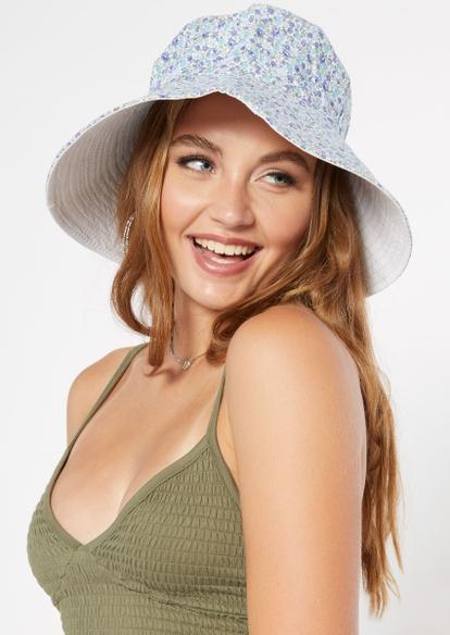 light blue floral print oversized bucket hat - Main Image