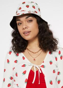 white strawberry print bucket hat - Main Image