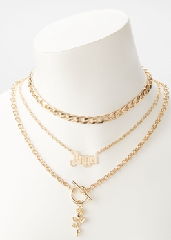 gold angel layered necklace set - Main Image