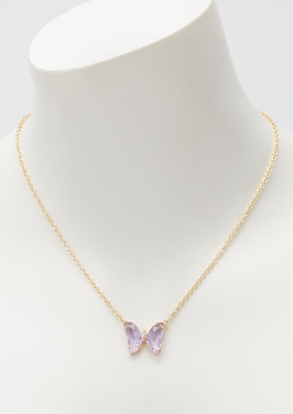 lavender butterfly rhinestone necklace - Main Image