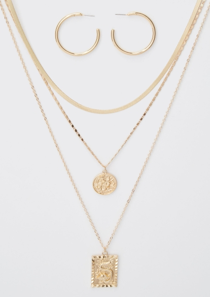 4-pack gold dragon earrings and necklace set - Main Image