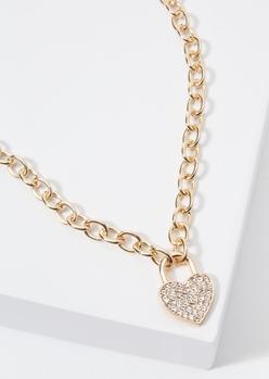 gold rhinestone heart charm necklace - Main Image