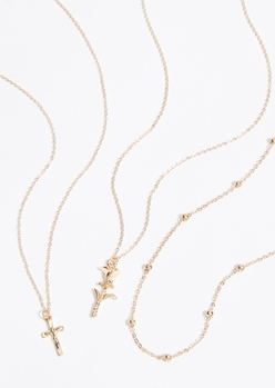 triple layer gold dainty cross rose necklace set - Main Image