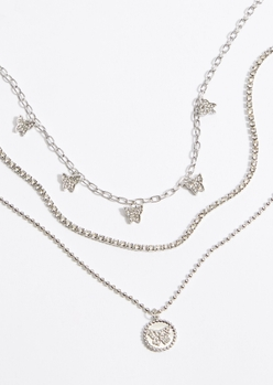 triple layer silver rhinestone butterfly necklace set - Main Image
