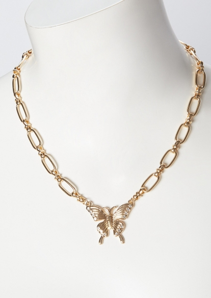 gold link chain butterfly pendant necklace - Main Image