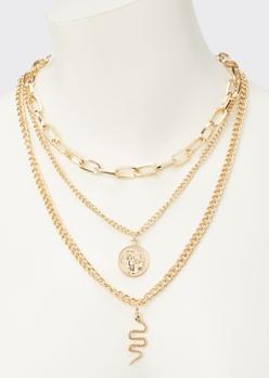 gold snake charm layered necklace - Main Image