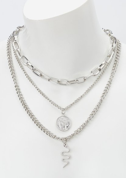 silver snake charm layered necklace - Main Image