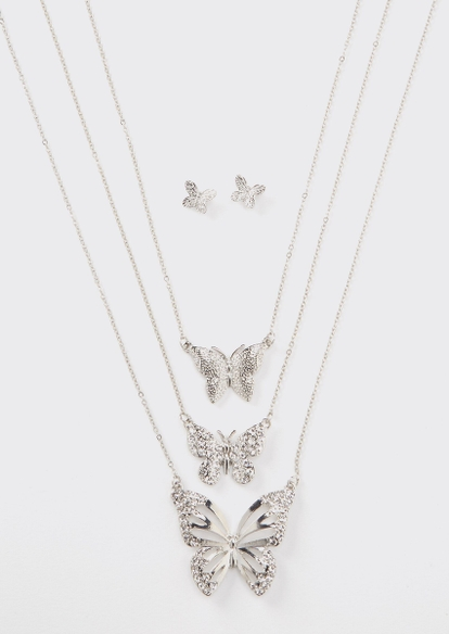 4-piece silver butterfly layered necklace and earring set - Main Image