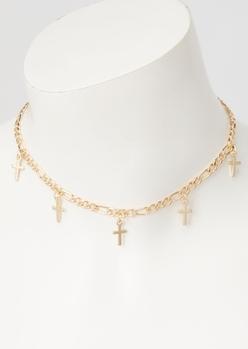 gold cross charm choker necklace - Main Image