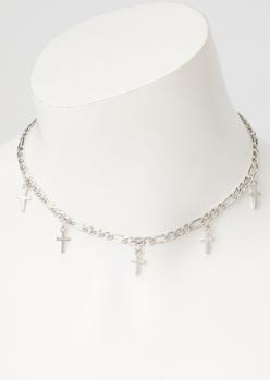 silver cross charm choker necklace - Main Image