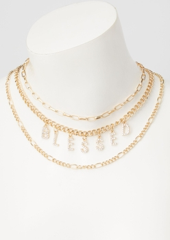 gold blessed layered necklace - Main Image